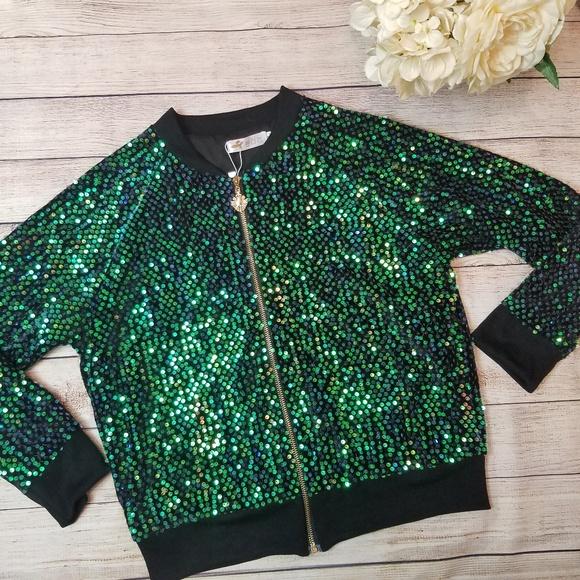 b0f0a313 Jackets & Coats | Nwt Green Sequin Mermaid Glam Bomber Jacket | Poshmark